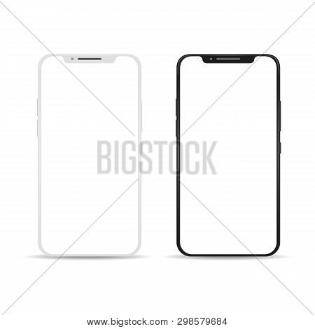 Smartphone Empty Touch Screen. Black And White Touchscreen Smart Phone Template, Vector Connection C