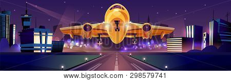 Passenger or cargo plane taking off or landing on runaway at night time, city lights on background cartoon illustration. Traveling by airlines, night flight from modern aerodrome. Air transport poster