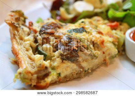 Closeup Delectable Creamy Quiche Lorraine With Green Salad
