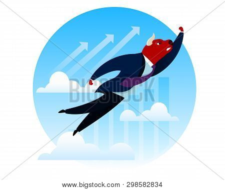 Businessman Success Trader Red Bull Flying to Top. Index Trend Forex Trade Innovation. Import Increase Rate Profit. Bank Currency Exchange Money. People Payment Invest Cartoon Vector Illustration poster