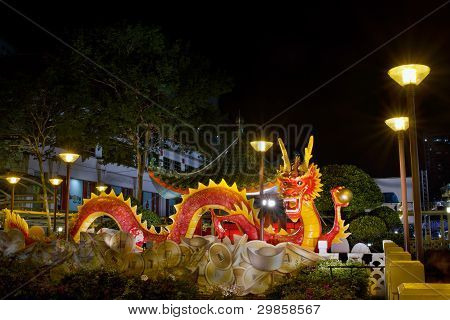 Chinese New Year 2012 Dragon Sculpture On Bridge