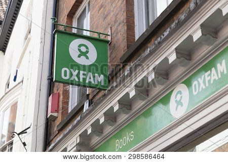 Sign For An Oxfam Charity Shop In York, Yorkshire, Uk - 4th August 2018