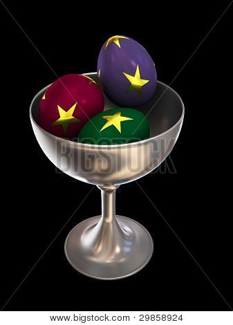Isolated Ornate Eggs In A Bowl