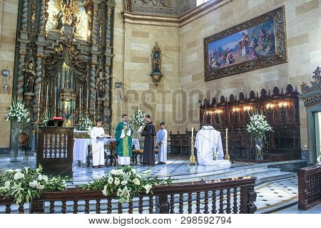 Brazil, September 16, 2007. Consecration Of The Catholic Mass, Inside The Basilica Of Our Lady Of Ca