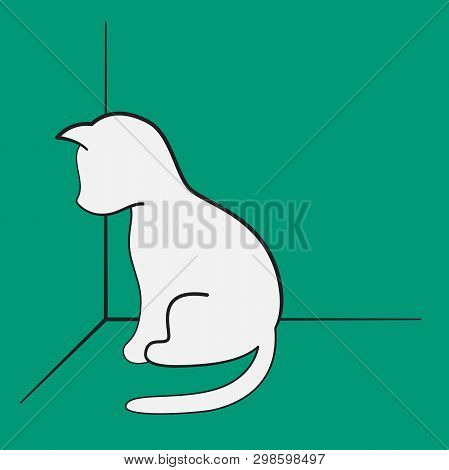 A Guilty Kitten Sitting In The Corner, White Silhouette On A Green Background.