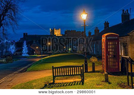 Bamburgh Village, Northumberland, England, Uk, At Dusk