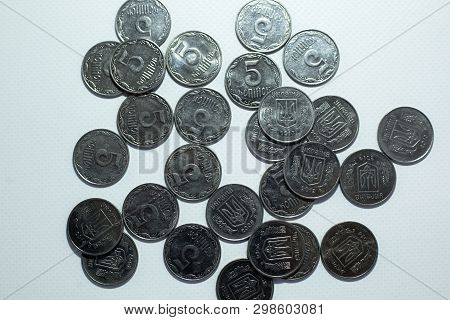 5 Kopeks Of The Ukrainian Currency On A White Background.close-up