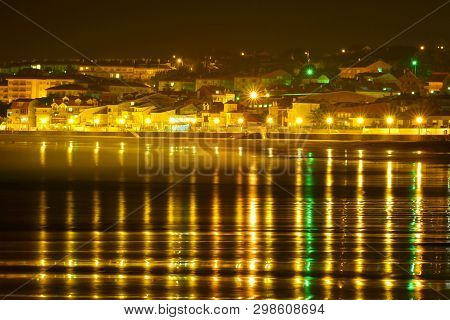 Baiona , Nigh Landscape; Light And Colors Reflected