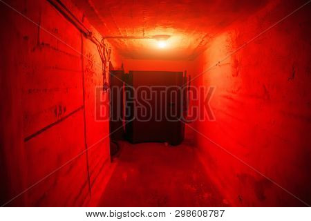 Hermetic Armored Door Soviet Bunker Inside And Red Light.