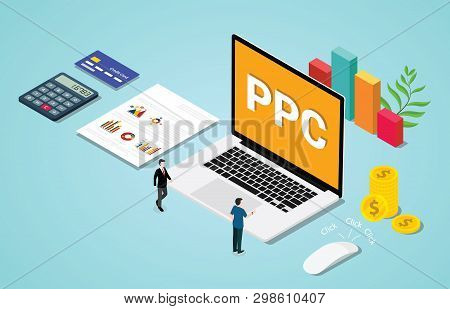 Isometric 3d Ppc Paid Per Clik Advertising Or Advertisement Concept With Laptop And Clicked Mouse Si