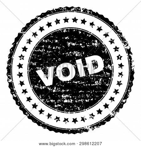 Void Seal Watermark With Corroded Texture. Black Vector Rubber Print Of Void Tag With Corroded Textu