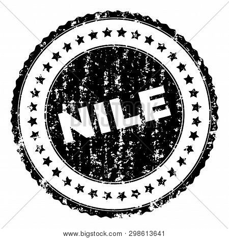 Nile Seal Print With Distress Texture. Black Vector Rubber Print Of Nile Caption With Retro Texture.