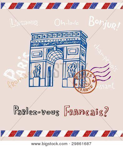 Arc de triomphe in Paris, post card in doodle style