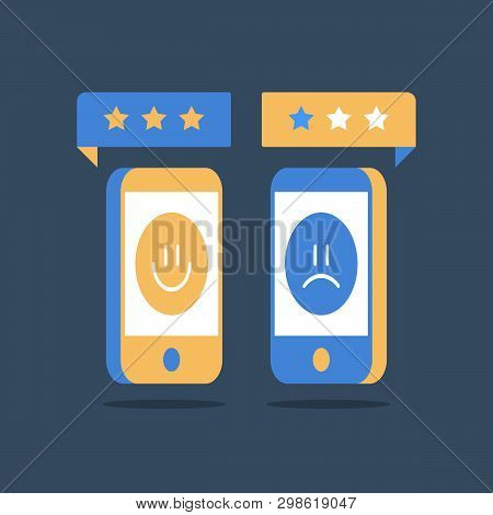 Online Review, Good Or Bad Customer, Smartphone And Rating Stars, Service Quality Evaluation, Sharin