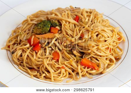 A meal of vegetable noodles, in the Asian style