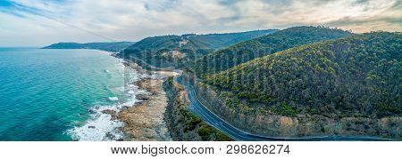 Great Ocean Road Passing Through Scenic Landscape In Victoria, Australia - Aerial Panoramic Landscap