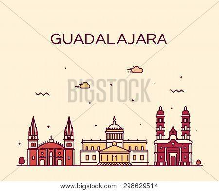 Guadalajara Skyline Jalisco Mexico A Vector Linear