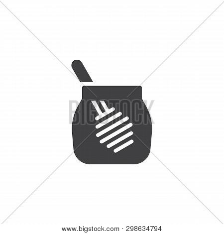 Honey Jar With Dipper Vector Icon. Filled Flat Sign For Mobile Concept And Web Design. Glass Jar Of