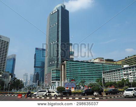 Jakarta, Indonesia - April 17, 2019: Traffic On Jalan Thamrin (thamrin Street) Around Bundaran Hi.