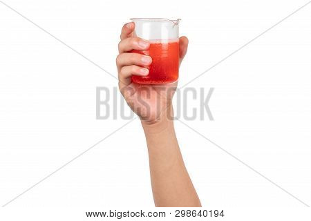 Science Beaker With Red Water Or Red Liquid Holding By Boy Hand Isolated On White Background. Hand S