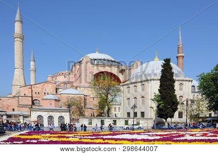 Istanbul, Turkey - April 24, 2019: View Of Hagia Sophia Museum  In The Springtime