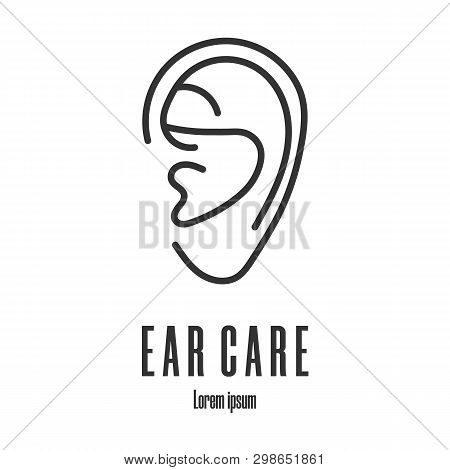 Line Style Icon Of A Ear. Ear Care Logo. Clean And Modern Vector Illustration For Design, Web.