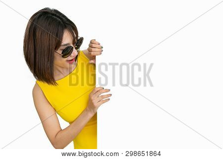 Beautiful Girl Holding Empty Blank Board Isolated White Background