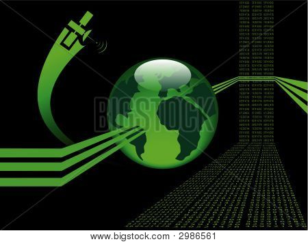Abstract Background With  Glossy Green Globe