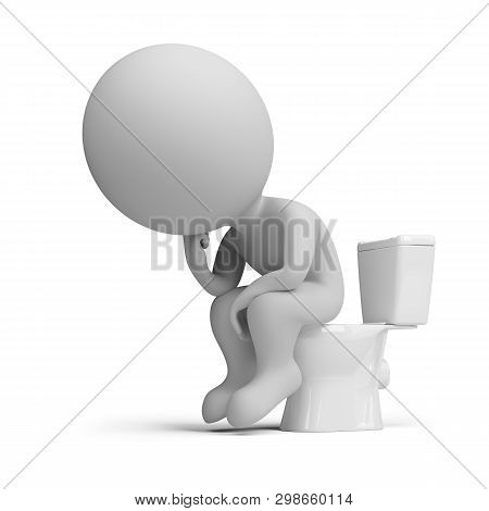 3d Small Person Sitting In A Thoughtful Thinker Pose On A Toilet. 3d Image. White Background.
