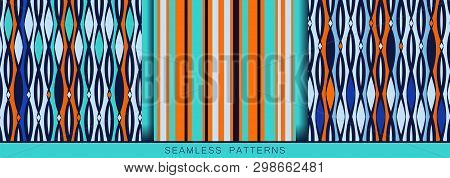 Set Of Vector Seamless Patterns. Endless Textures In Blue Turquoise Ultramarine White Orange Colors.