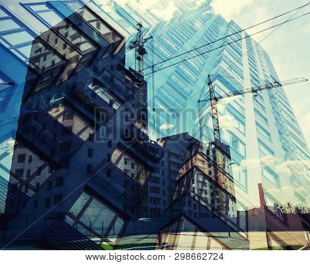 Concept Of Real Estate Construction, Residential Buildings.  Abstract Background Of Construction Wor