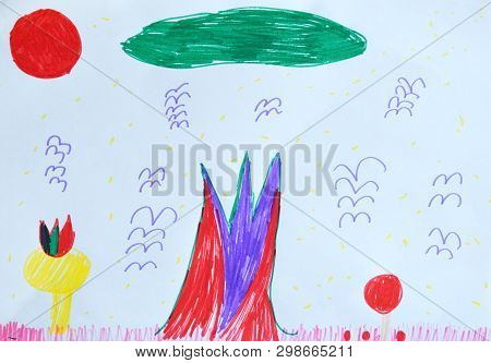 Children's Drawing: Magic World. Fantasy. Unusual Colorful Flowers, Trees