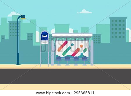 Flat Bus Stop On Main Street With City Background.thai Bus Stop On Road With Urban.beautiful Citysca