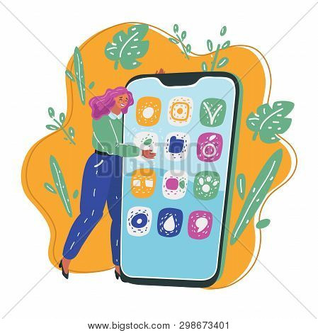 Vector Cartoon Illustration Of Dreamy Romantic Young Woman Hug A Big Smartphone Phone Clasped To Her