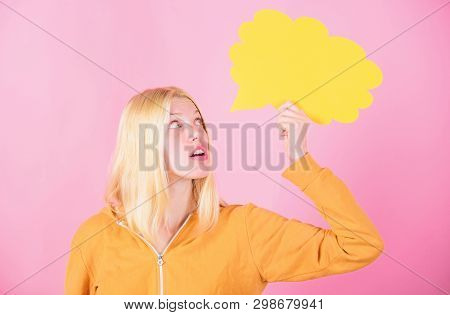 Thoughts Of Cheerful Adorable Woman. Ideas And Thoughts Copy Space. Idea And Inspiration. Idea And B