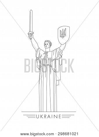 Motherland Statue In Kyiv Ukraine Line Illustration