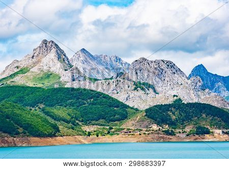 Reservoir In The Mountains Of Picos De Europa. Cantabrian, Riano, Province Of Leon. Castile And Leon