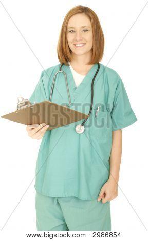 medizinisches Personal hand über Clip-board