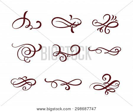 Vector Set Of Floral Calligraphic Elements, Dividers And Flourish Ornaments For Page Decoration And