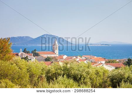 Pakostane, Zadar, Croatia, Europe - Steeple Of Pakostane At The Coastline Of Zadar