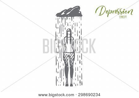 Rain, Depression, Woman, Sad, Stress Concept. Hand Drawn Sad Woman With Symptoms Of Depression Conce