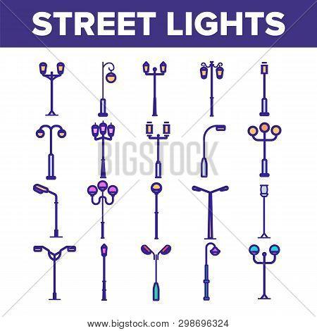 Street Lights Linear Vector Icons Set. Streetlights Thin Line Contour Symbols Pack. City Illuminatio