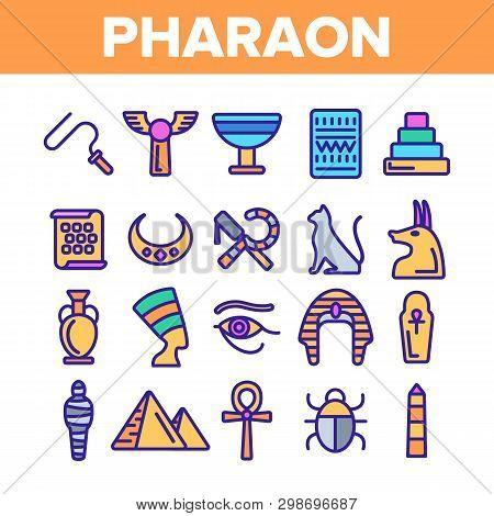 Pharaoh, Egypt King Vector Thin Line Icons Set. Pharaoh Royal Power Symbols Linear Illustrations. Py