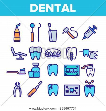 Dental Services, Stomatology Linear Vector Icons Set. Dentistry Clinic Thin Line Symbols Pack. Denti