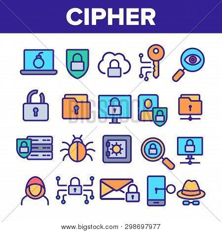Cipher Linear Vector Icons Set. Information Encryption Thin Line Contour Symbols Pack. Digital Secur
