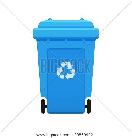 Bin, Recycle Plastic Blue Wheelie Bin For Waste Isolated On White Background, Blue Bin With Recycle