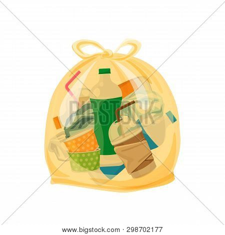 Plastic Waste Packed In The Transparent Plastic Bags For Waste Separation Isolated White Square Back