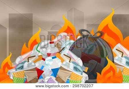 Illustration Pollution From Waste Plastic Incineration In Urban, Garbage Waste Disposal With Burnt I