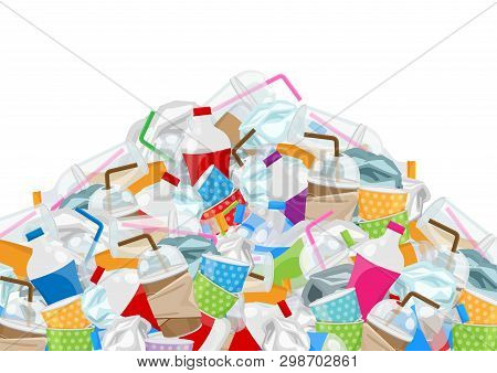 Illustration Of Pile Garbage Waste Plastic And Paper In Mountain Shape Isolated White Background, Bo