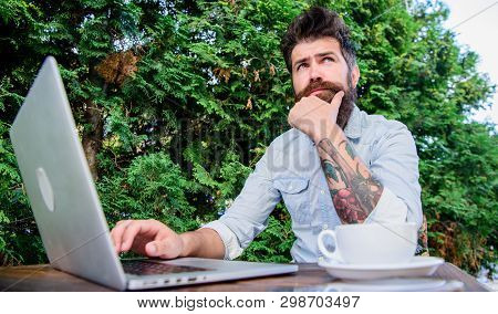 Keep On Blogging. Bearded Man Blogging On Popular Social Network. Amateur Journalist Blogging And Wr